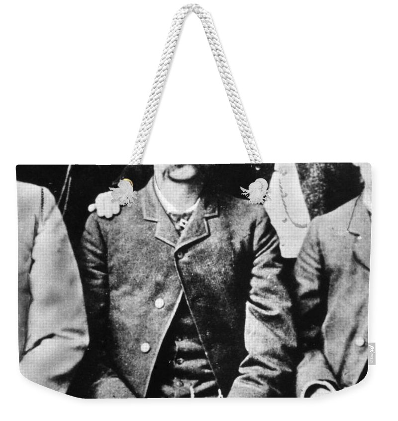 1870s Weekender Tote Bag featuring the photograph Wyatt Earp (1848-1929) by Granger