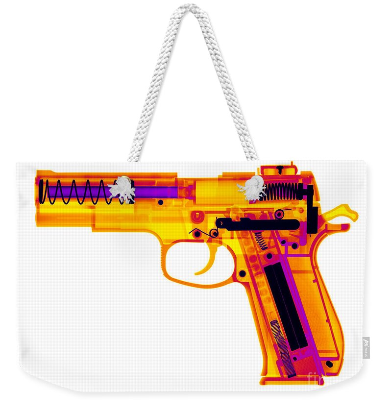 Xray Weekender Tote Bag featuring the photograph X-ray Of An Air Gun by Ted Kinsman