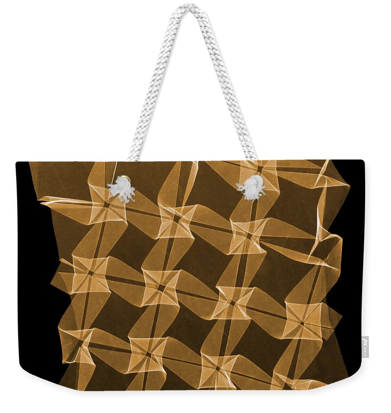 Origami Weekender Tote Bag featuring the photograph X-ray Of Mathematical Origami by Ted Kinsman
