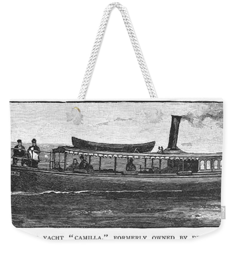1882 Weekender Tote Bag featuring the photograph Yacht, 1882 by Granger