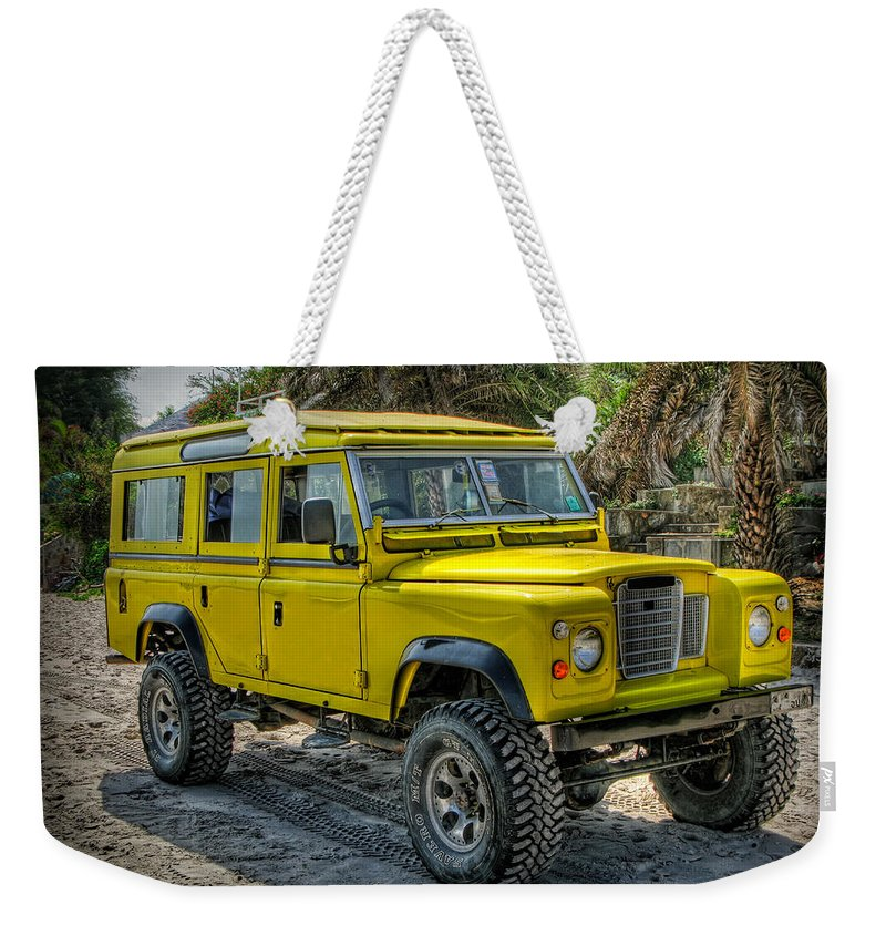 Jeep Weekender Tote Bag featuring the photograph Yellow Jeep by Adrian Evans