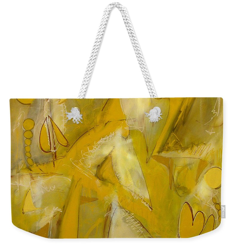 Abstract Weekender Tote Bag featuring the painting Yo Yo Gold by Lynne Taetzsch