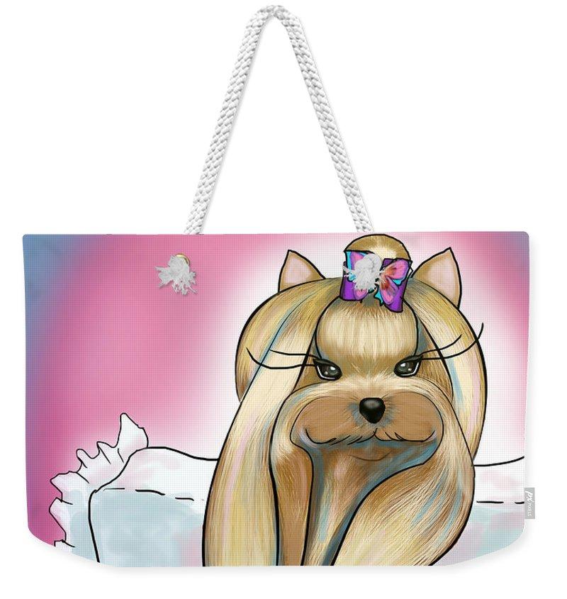 Yorkie Weekender Tote Bag featuring the mixed media Yorkie Rapunzel by Catia Lee