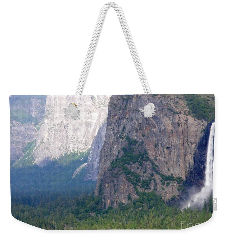 Park Weekender Tote Bag featuring the photograph Yosemite Bridal Veil Fall by Henrik Lehnerer