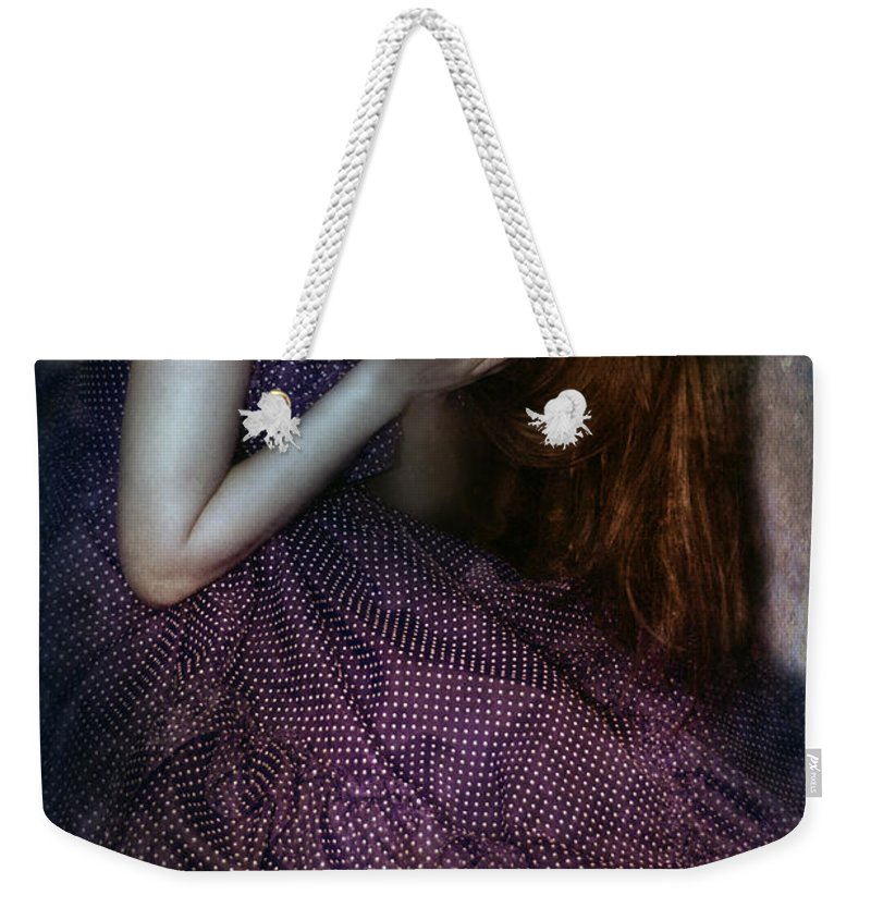 Woman Weekender Tote Bag featuring the photograph Young Lady Crying by Jill Battaglia