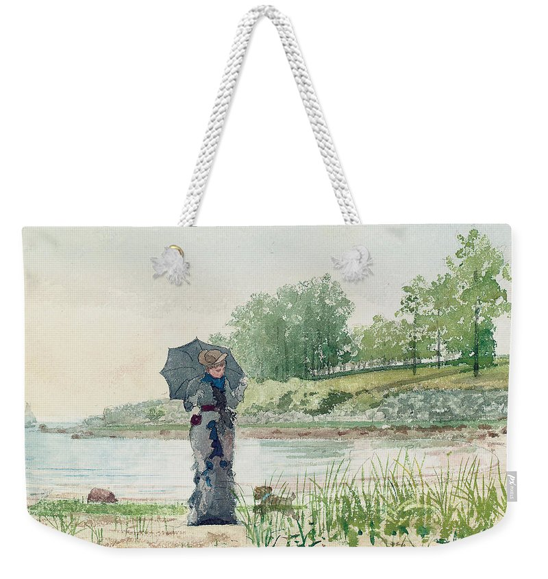 Young Woman Weekender Tote Bag featuring the painting Young Woman by Winslow Homer
