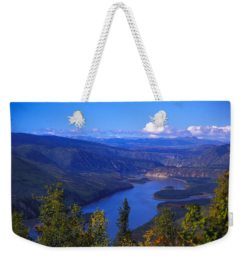 Color Image Weekender Tote Bag featuring the photograph Yukon River In Fall Colors by Nick Norman