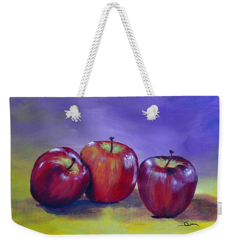 Apple Weekender Tote Bag featuring the painting Yummy Apples by Dee Carpenter