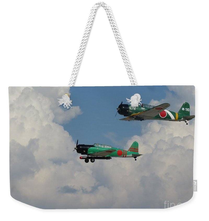 Japanese Zeros Weekender Tote Bag featuring the photograph Zeros On The Prowl by Aimee Mouw