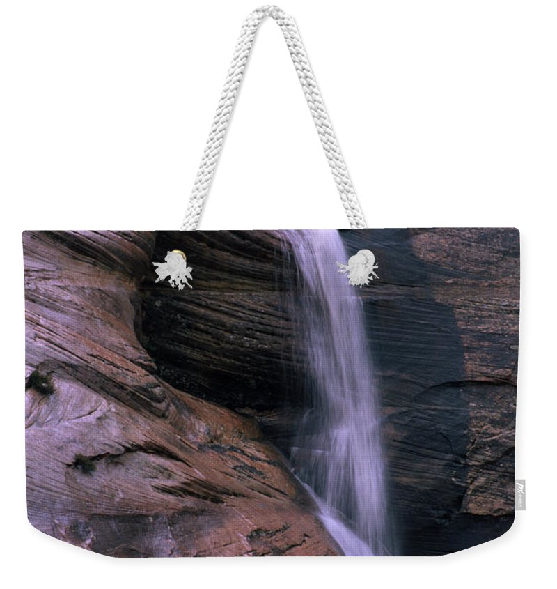Southwest Weekender Tote Bag featuring the photograph Zion Summer Waterfall by Sandra Bronstein