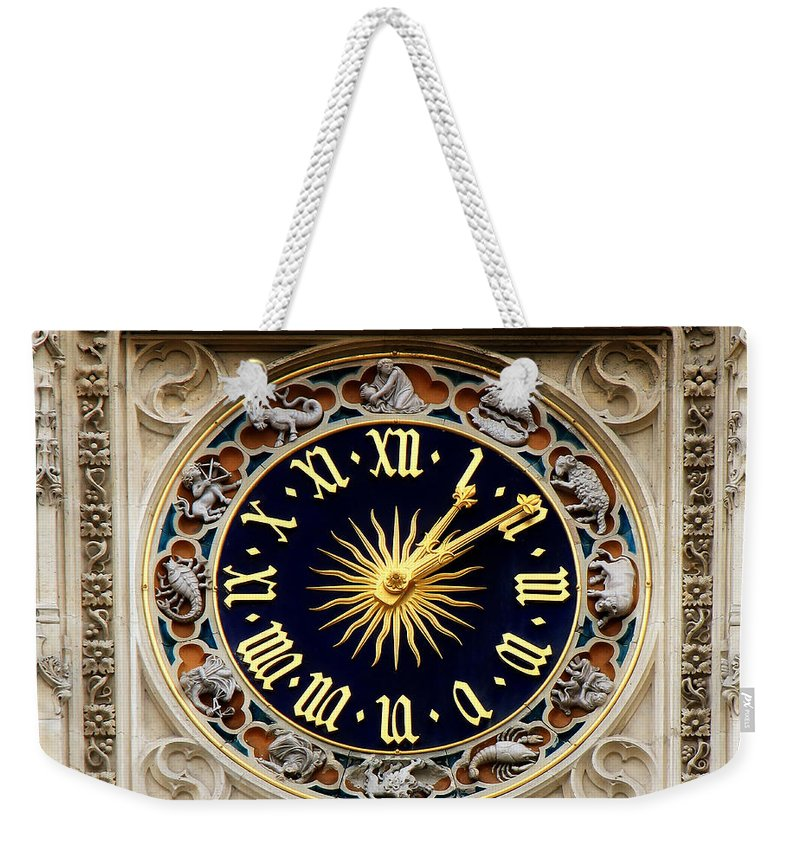 Zodiac Weekender Tote Bag featuring the photograph Zodiac Clock by Andrew Fare