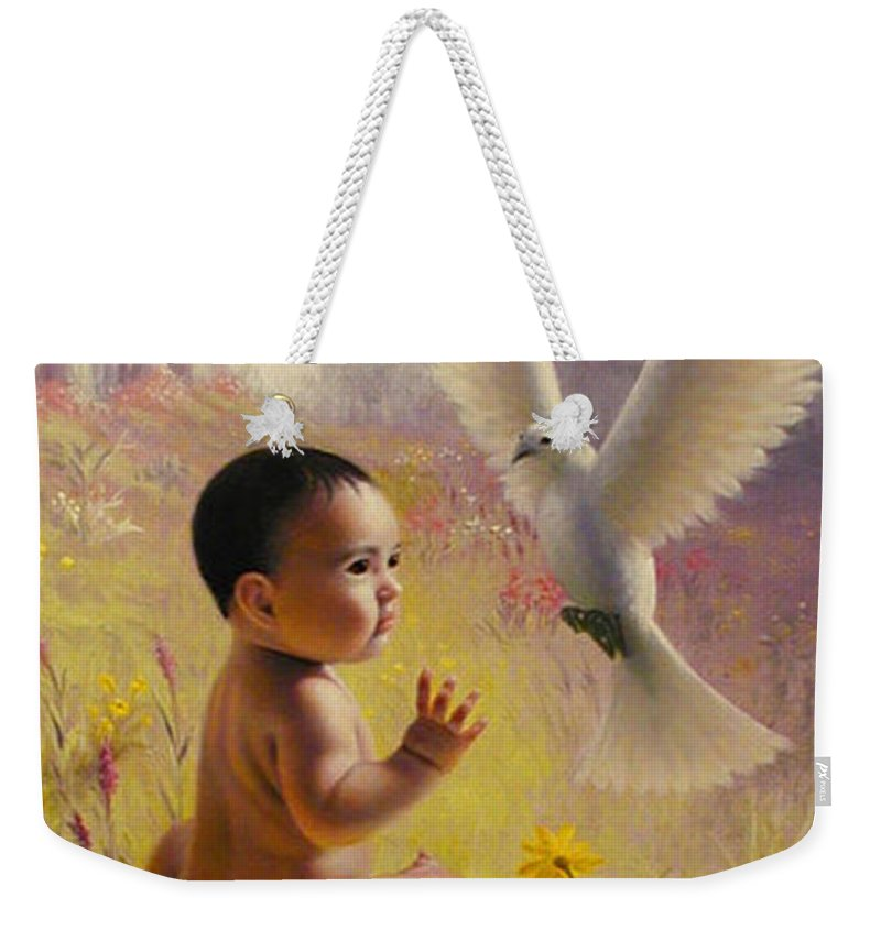 Baby Weekender Tote Bag featuring the painting  Peace  Weaver by Stephen Lucas