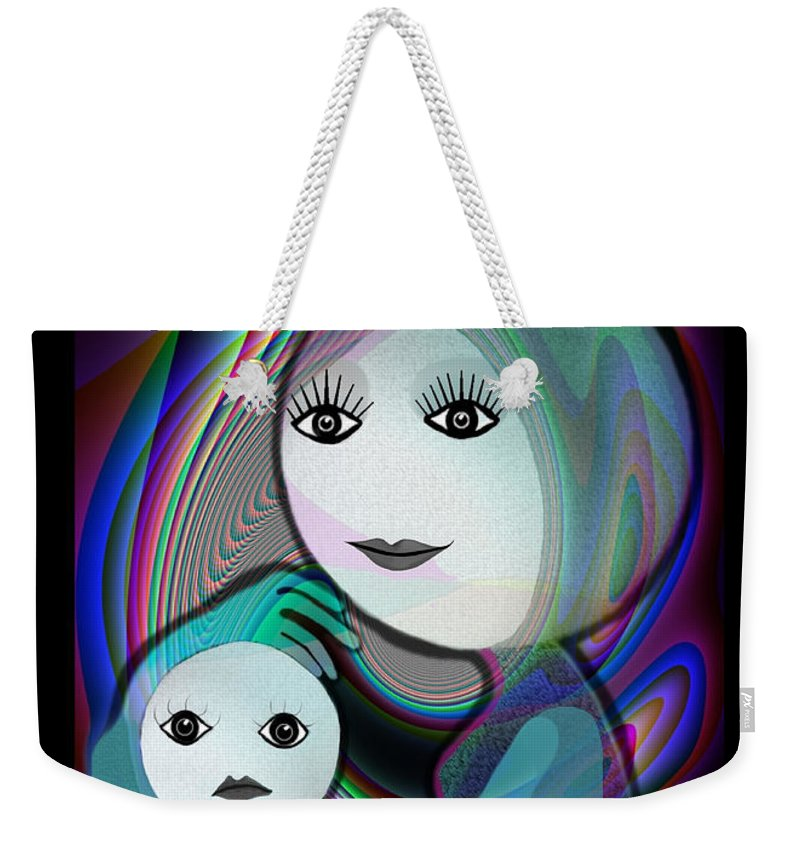 Mother And Child Weekender Tote Bag featuring the painting 044 - Full Moon Mother And Child  by Irmgard Schoendorf Welch