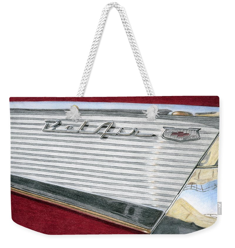 Classic Weekender Tote Bag featuring the drawing 1957 Chevrolet Bel Air Convertible by Rob De Vries