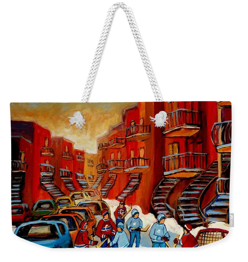 Hockey Weekender Tote Bag featuring the painting A Beautiful Day For The Game by Carole Spandau