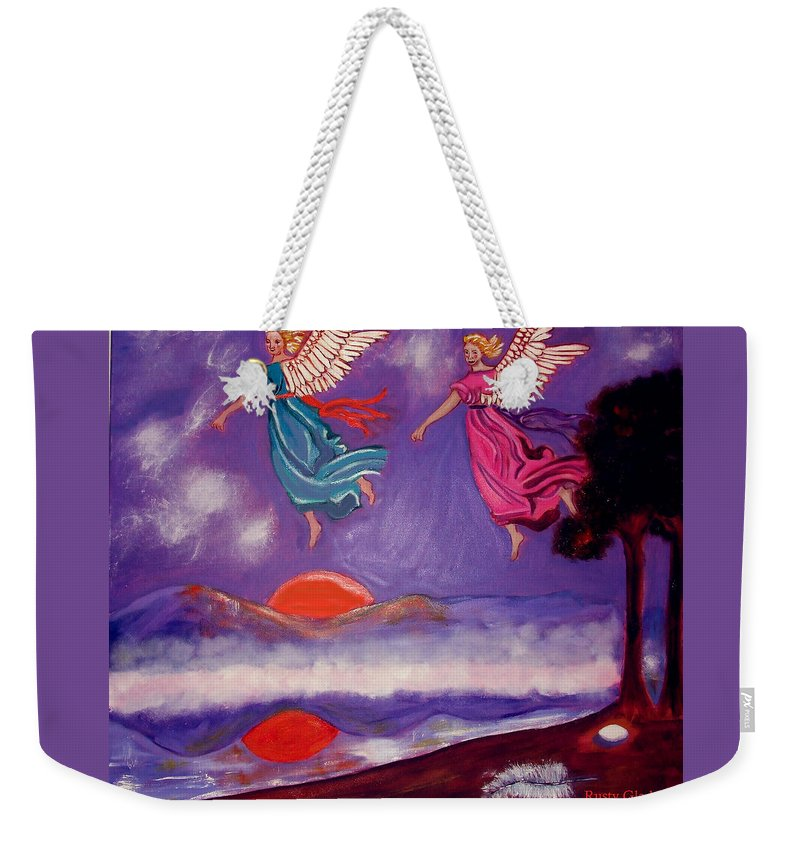 Angels Weekender Tote Bag featuring the painting A Feather From The Breath Of God by Rusty Gladdish