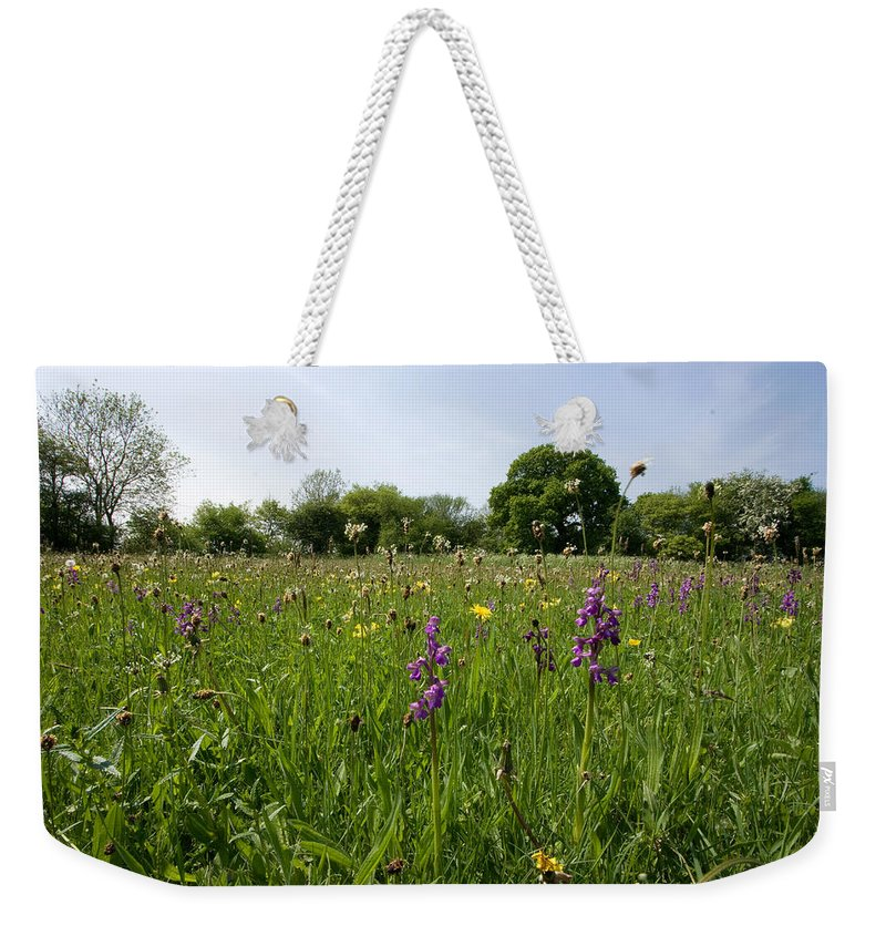 Orchid Weekender Tote Bag featuring the photograph Ancient Hay Meadow by Bob Kemp