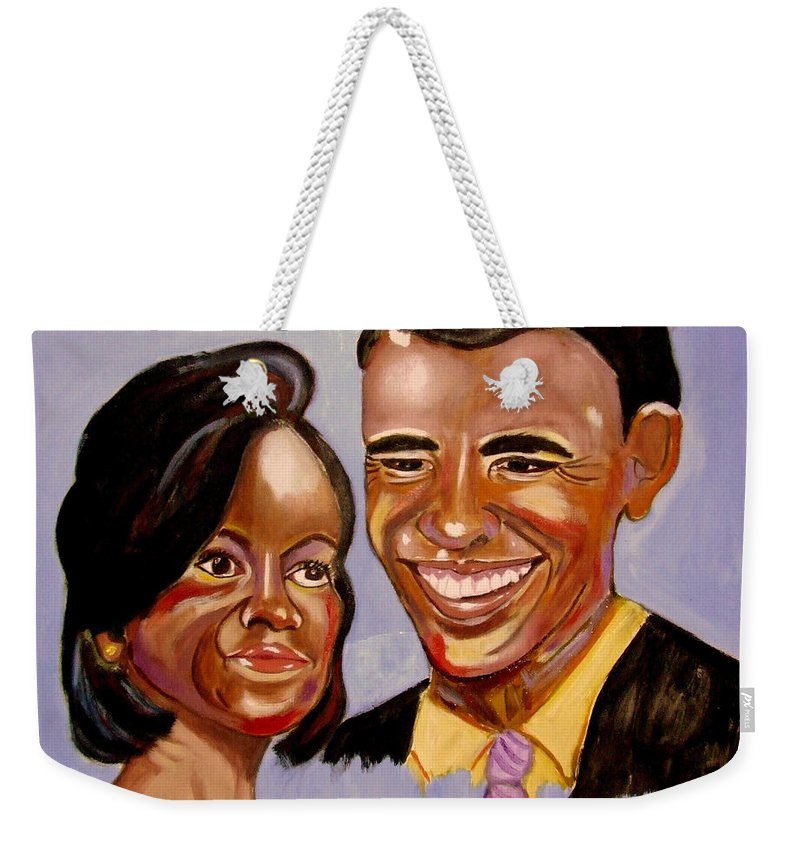 Obama Weekender Tote Bag featuring the painting Barak And Michelle Obama  The Power Of Love by Rusty Gladdish
