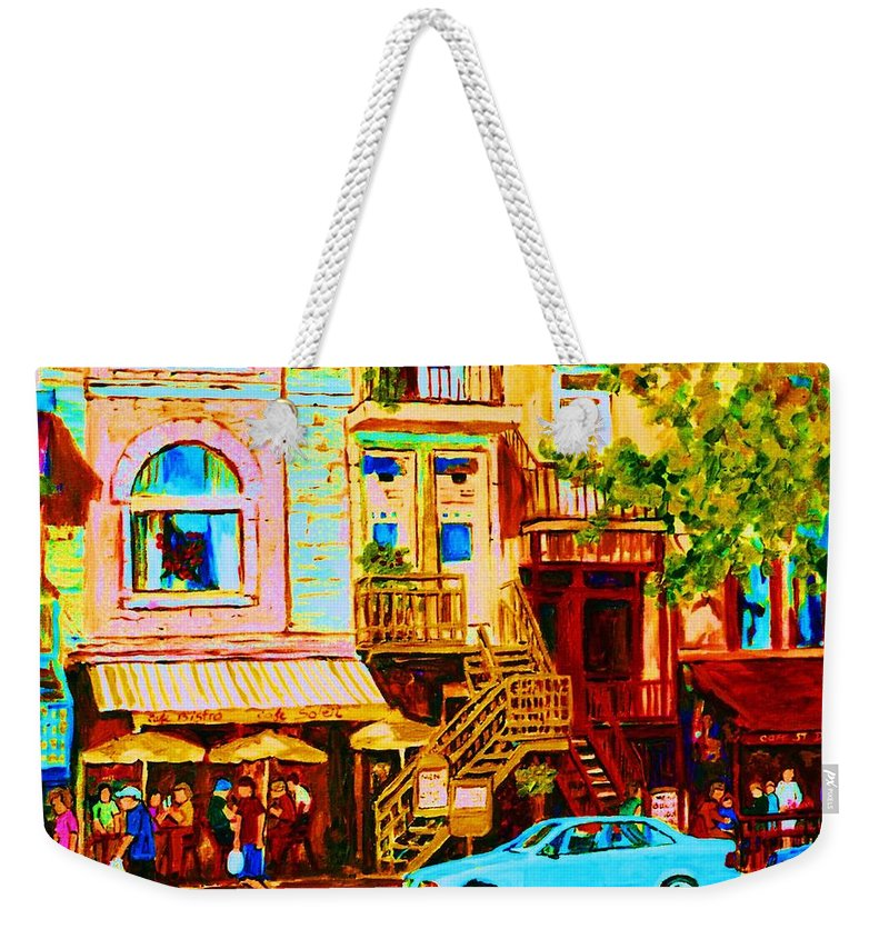 Cafe Art Weekender Tote Bag featuring the painting Beautiful Cafe Soleil by Carole Spandau