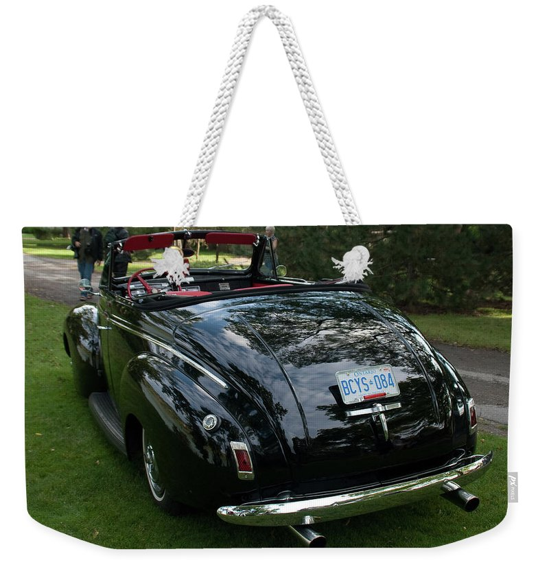Antique Car Weekender Tote Bag featuring the photograph Black And Chrome 13130 by Guy Whiteley