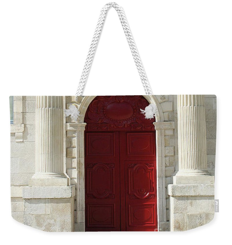Red Door Weekender Tote Bag featuring the photograph Burgundy Door by Christiane Schulze Art And Photography