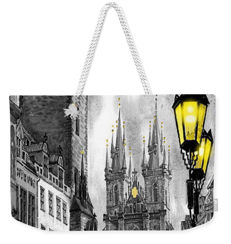 Geelee.watercolour Paper Weekender Tote Bag featuring the painting Bw Prague Old Town Squere by Yuriy Shevchuk