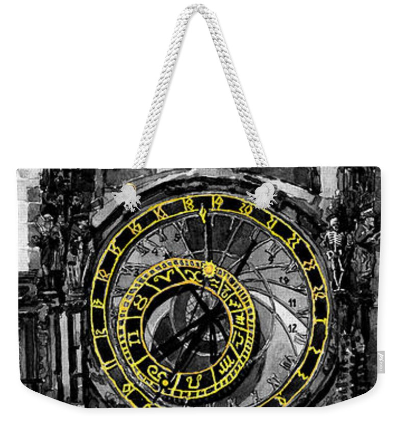 Geelee.watercolour Paper Weekender Tote Bag featuring the painting Bw Prague The Horologue At Oldtownhall by Yuriy Shevchuk