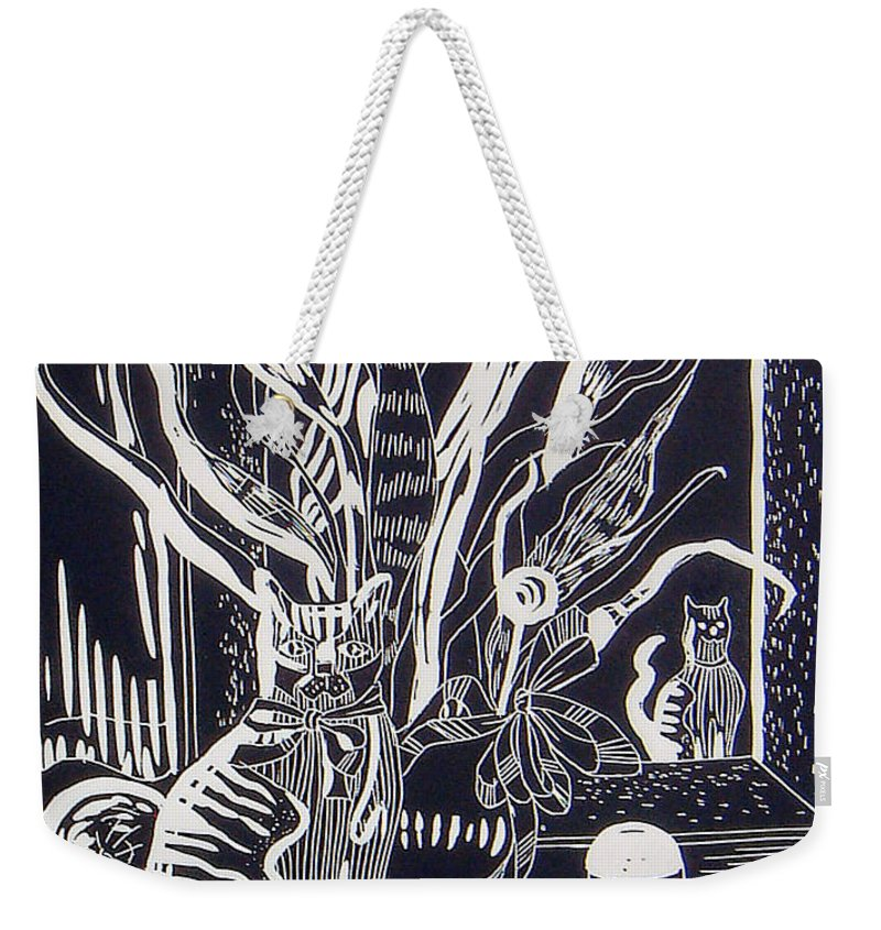 Black&white Weekender Tote Bag featuring the mixed media Cat On Dresser by Linda Shackelford