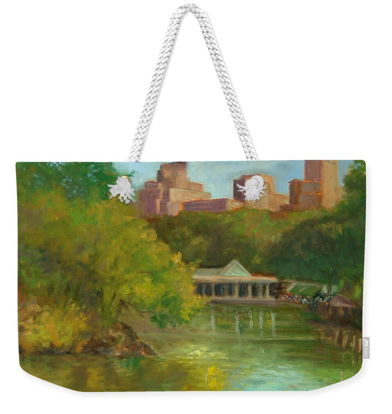 Landscape Weekender Tote Bag featuring the painting Central Park New York Boathouse by Phyllis Tarlow