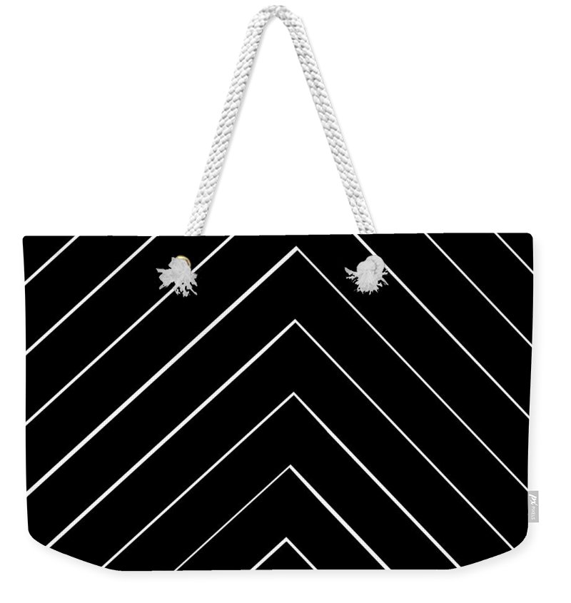 Chevron Shifted Weekender Tote Bag featuring the digital art Chevron Shifted by Chastity Hoff