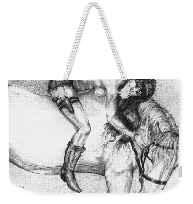 Cowgirl Weekender Tote Bag featuring the drawing Cowgirl Riding A Hourse by Alban Dizdari