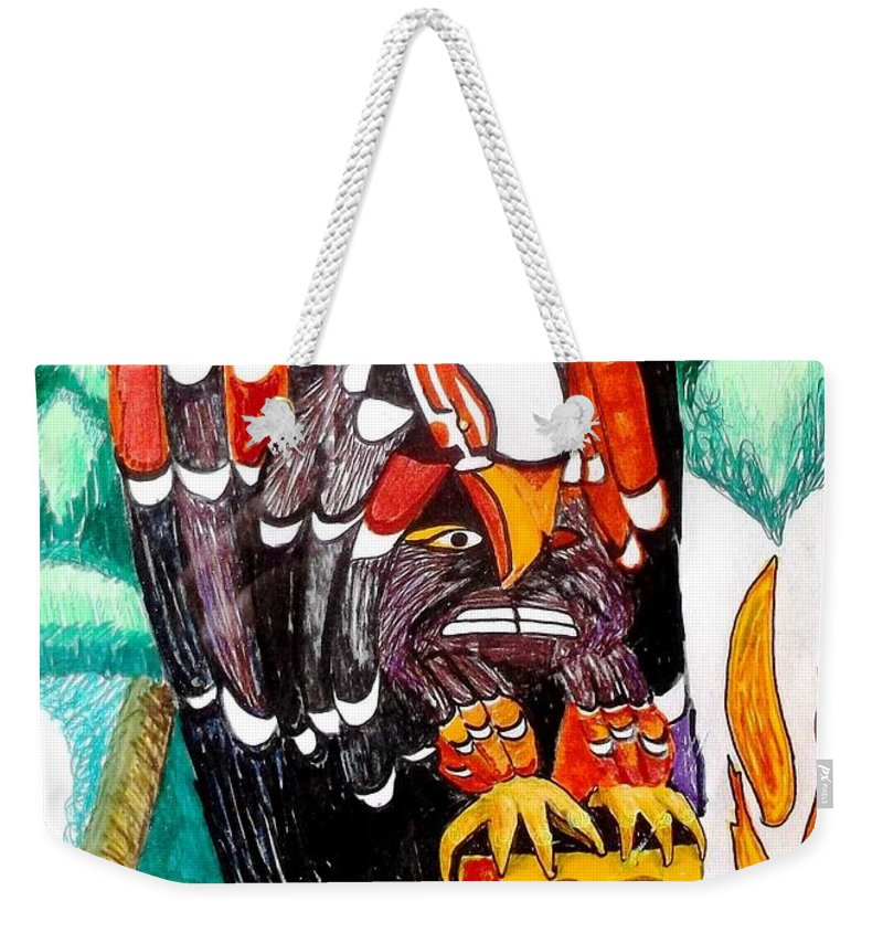 Totem Pole Weekender Tote Bag featuring the drawing Eagle Has Landed by Abelone Petersen