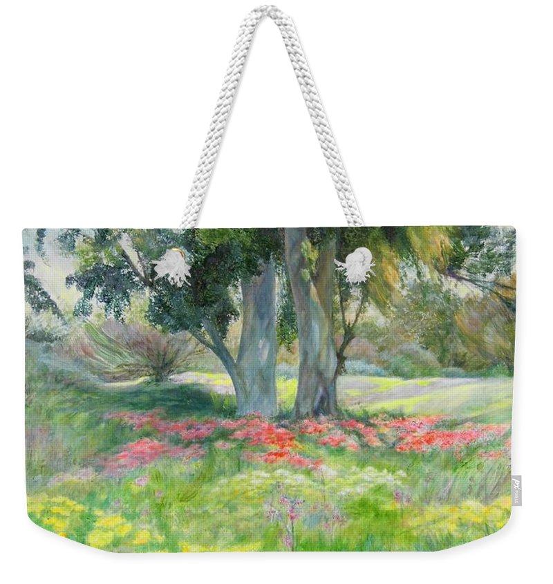 Artist Maya Bukhin Weekender Tote Bag featuring the painting Eucalyptus by Maya Bukhina