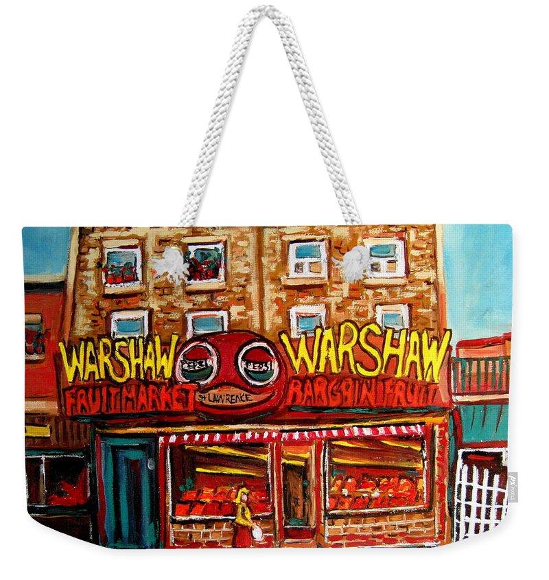 Warshaws Fruitmarket Weekender Tote Bag featuring the painting Fifties Fruitstore by Carole Spandau
