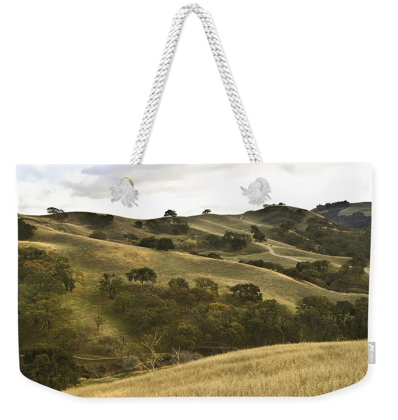 Landscape Weekender Tote Bag featuring the photograph First Hill In Fall by Karen W Meyer