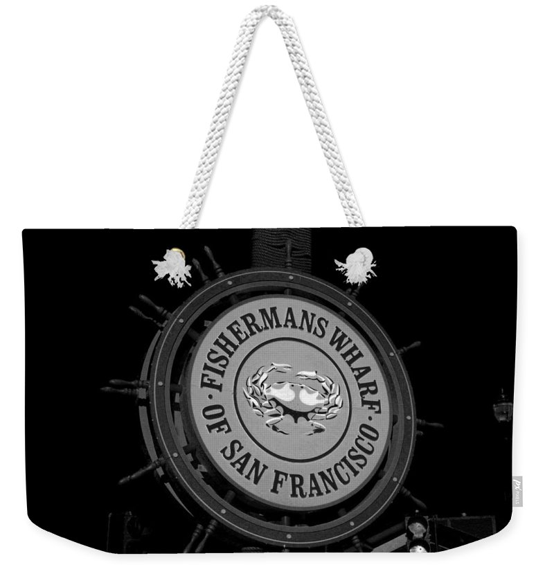 Fisherman's Weekender Tote Bag featuring the photograph Fisherman's Wharf San Francisco-horizontal In Bw by Michiale Schneider