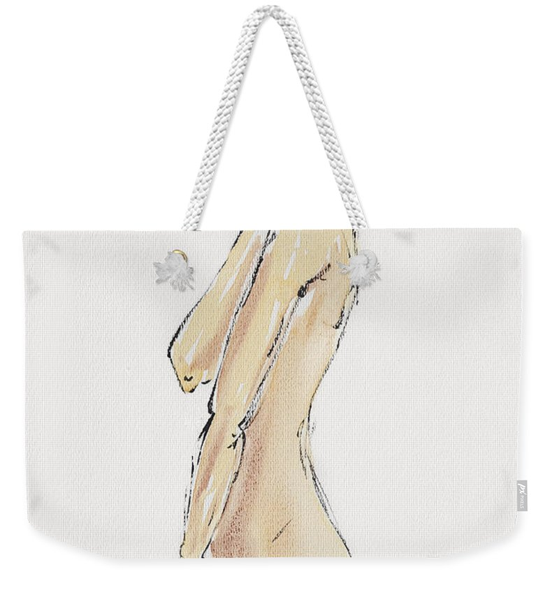 Art Weekender Tote Bag featuring the drawing Flirtatious by Michal Boubin