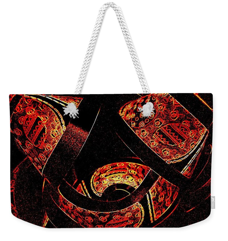 Abstract Weekender Tote Bag featuring the digital art Galactic Flow by Will Borden