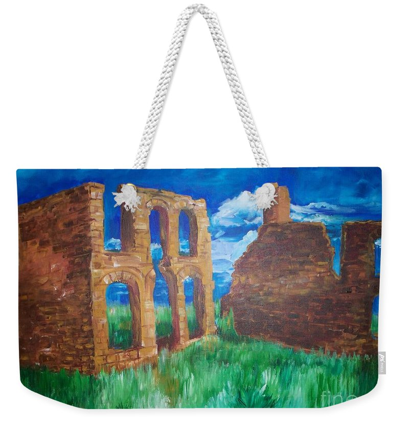 Western_landscapes Weekender Tote Bag featuring the painting Ghost Town by Eric Schiabor