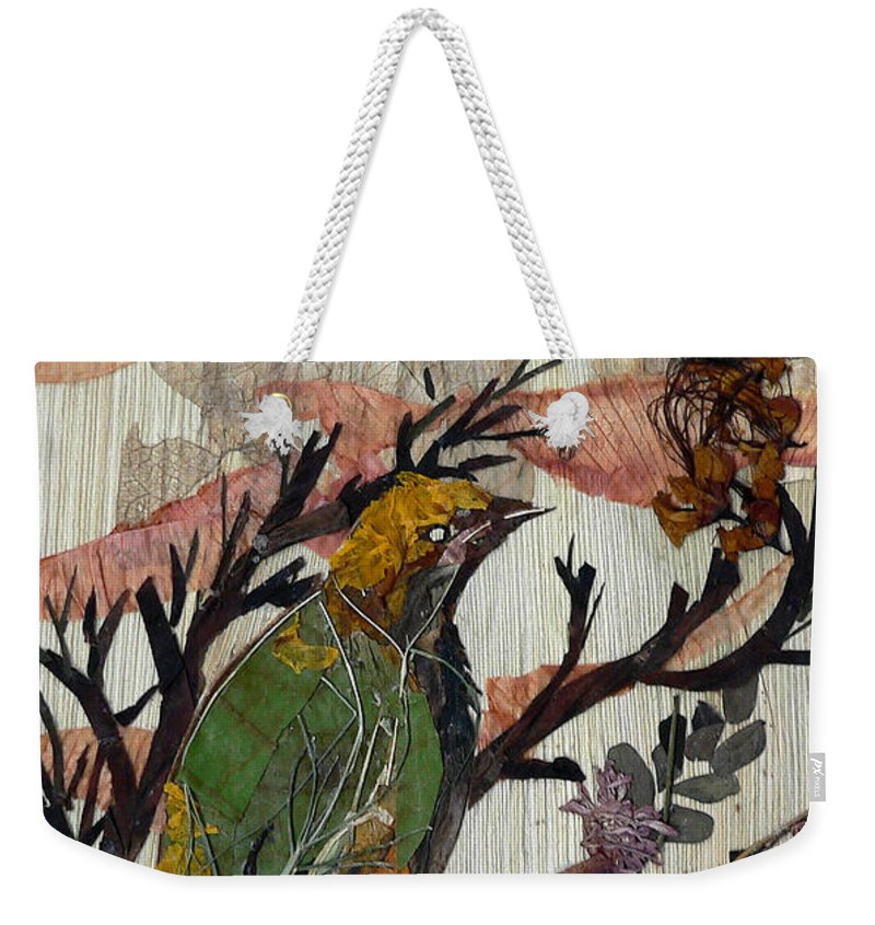 Green Bird Weekender Tote Bag featuring the mixed media Green-yellow Bird by Basant Soni