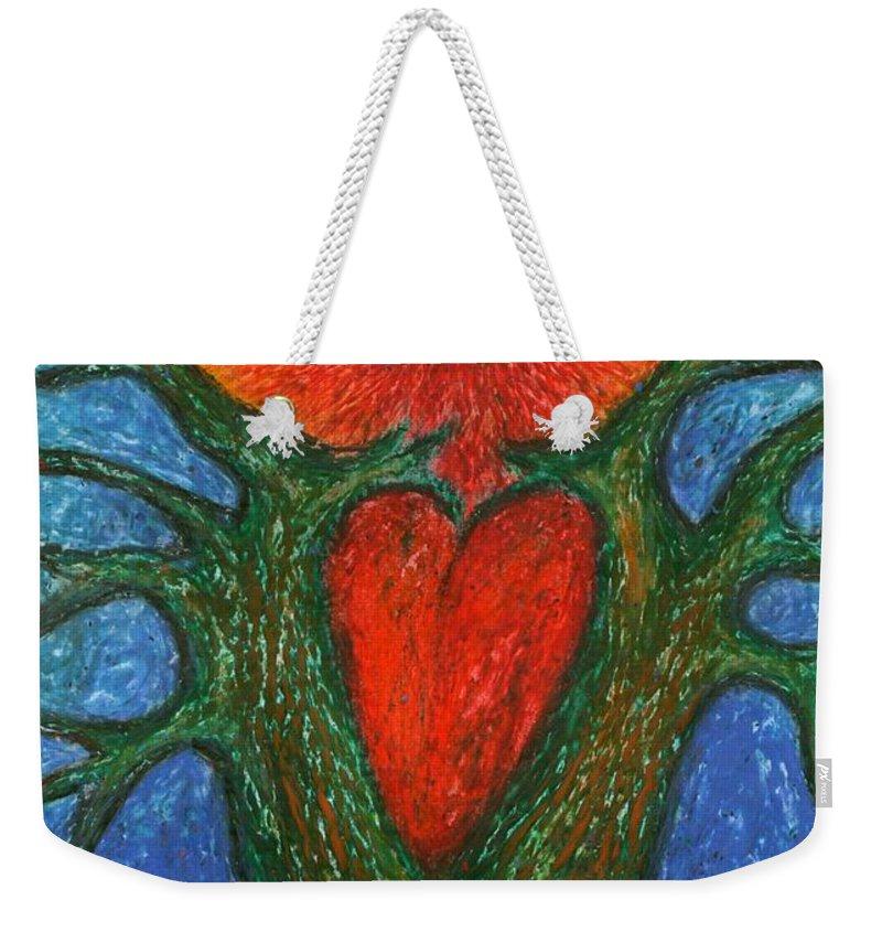 Colour Weekender Tote Bag featuring the pastel Greeting Of Joy by Wojtek Kowalski