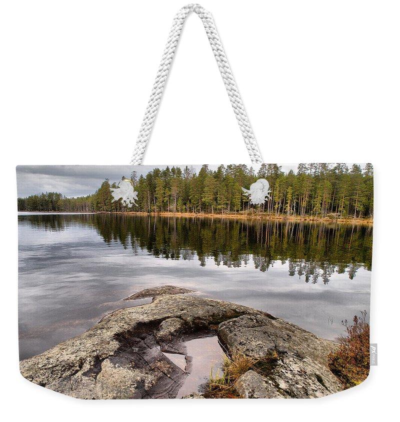 Lehtokukka Weekender Tote Bag featuring the photograph Haukkajarvi Landscape by Jouko Lehto