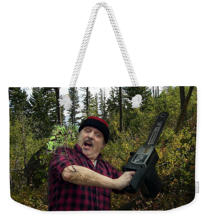 Surrealism Fantastic+realism Cloning Parasites Lumberjack Chainsaw Selfportrait Weekender Tote Bag featuring the digital art I Am A Lumberjack I Am Ok by Otto Rapp