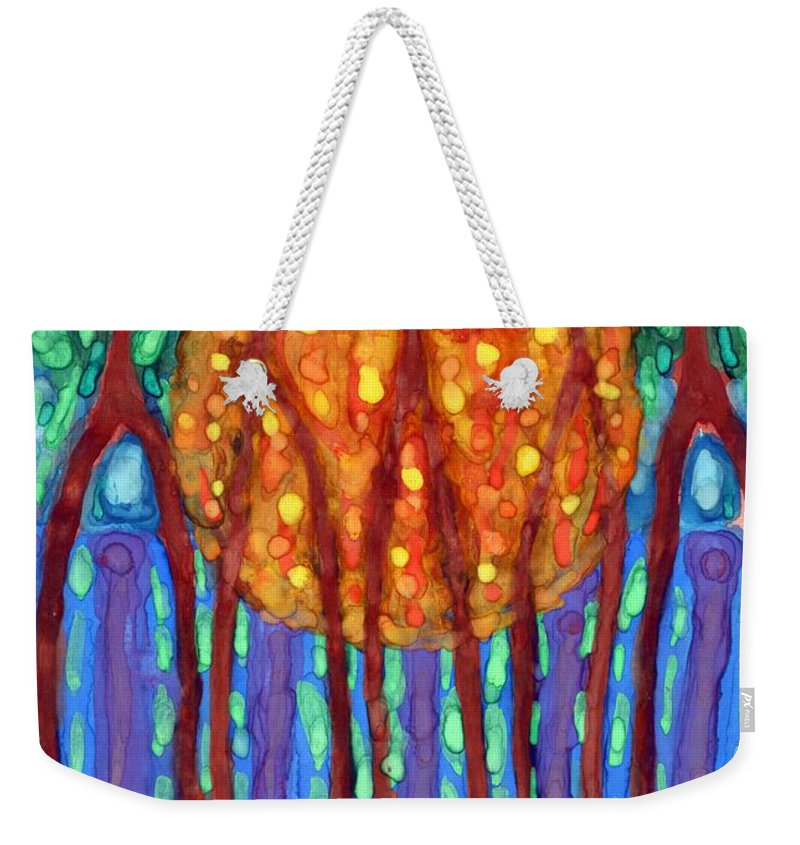 Colour Weekender Tote Bag featuring the painting I Flow To Violet by Wojtek Kowalski