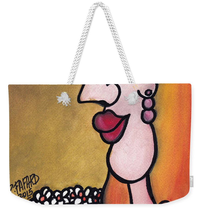 Sun Weekender Tote Bag featuring the painting ' In A Field Of Daisies ' - ' Dans Un Champ De Marguerites ' by Fafard