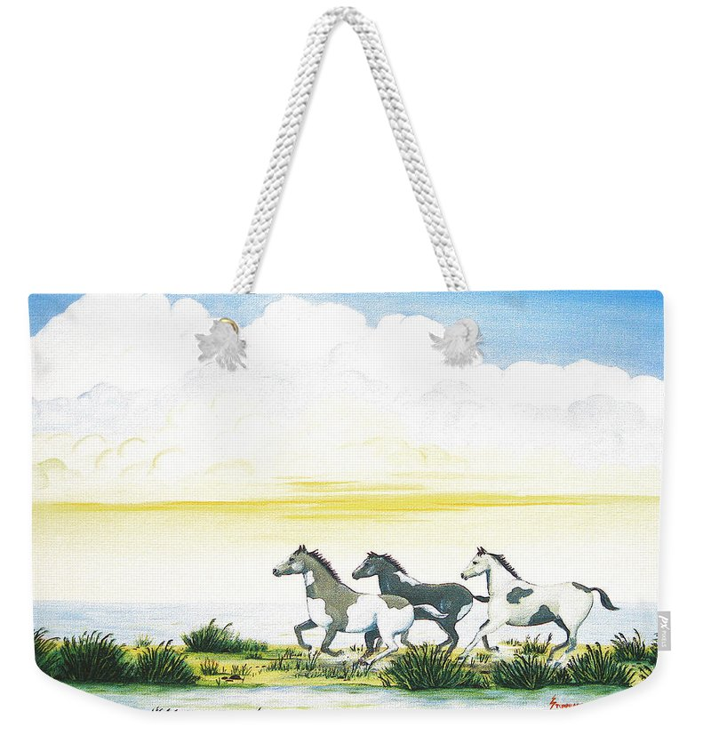 Chincoteague Weekender Tote Bag featuring the painting Indian Ponies by Jerome Stumphauzer