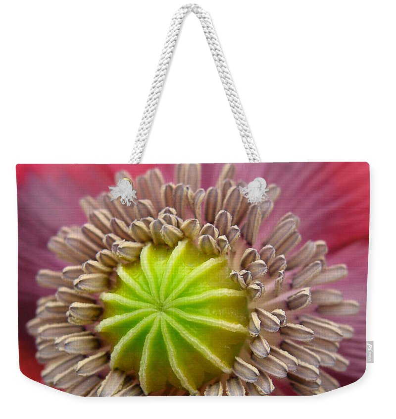 Bloom Weekender Tote Bag featuring the photograph Inner Most Poppy by David and Carol Kelly