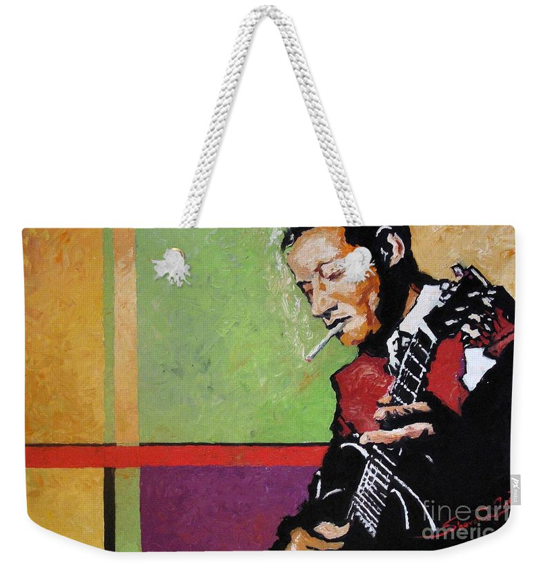 Jazz Weekender Tote Bag featuring the painting Jazz Guitarist by Yuriy Shevchuk