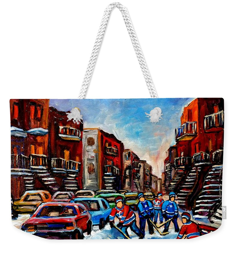 Montreal Weekender Tote Bag featuring the painting Late Afternoon Street Hockey by Carole Spandau