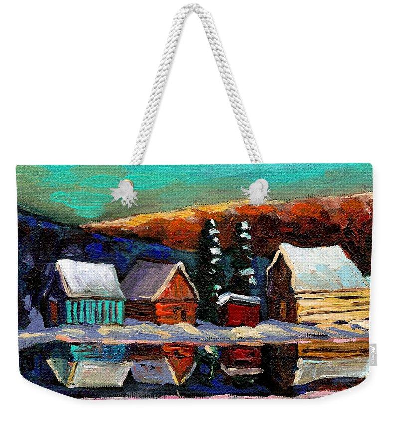 Quebec Winter Landscape Weekender Tote Bag featuring the painting Laurentian Landscape Quebec Winter Scene by Carole Spandau